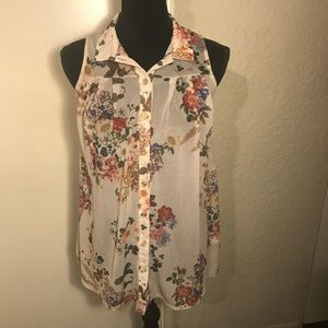 River Island Sheer Button Down Blouse Size 8